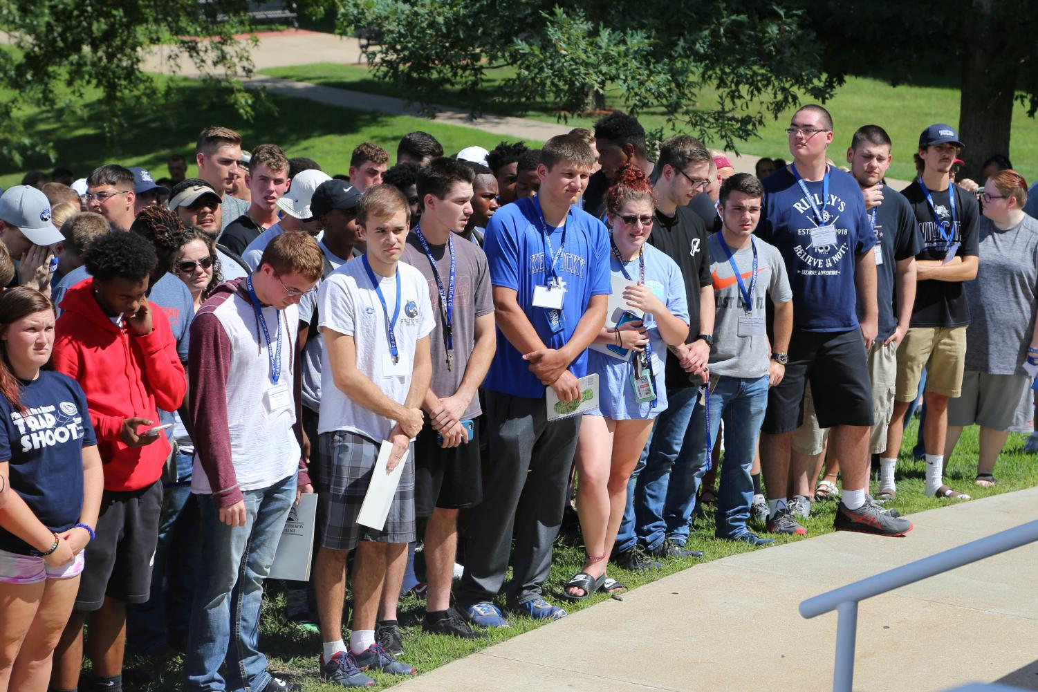 New students outside of Johnson Hall during the 2018 Matriculation. Photo courtesy of Culver-Stockton College