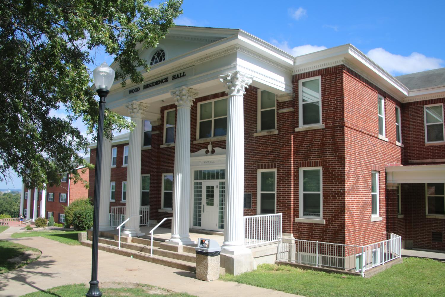 The front of Wood Residence Hall.