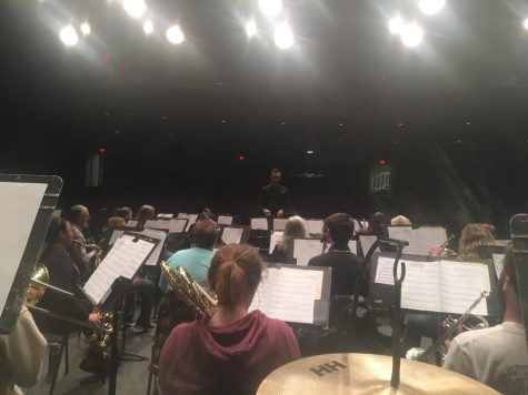 A behind-the-scenes view of the Symphonic Band practicing for their concert on Sunday, Nov. 11.