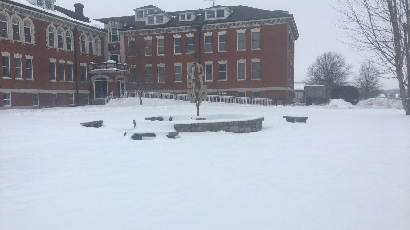 One of C-SC's fountains covered in the snow. The snow has been on campus since 1/11/19.