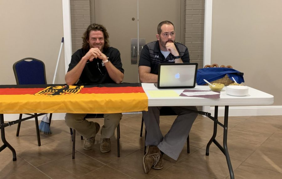 Dan Mahoney and Brain Walker at their table, Amsterdam and Germany trip.