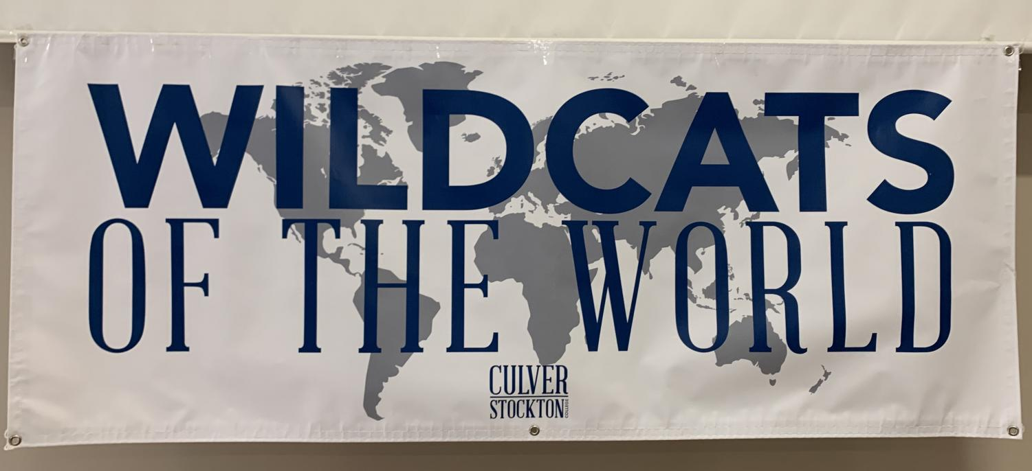Wildcats Of The World sign at the Travel Study Fair.