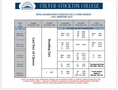 Finals Week Schedule 11/18-11/22