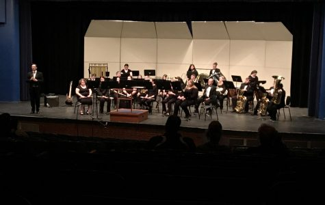 Wind Ensemble prepares to play at Pre-Tour Concert.